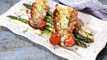 Lobster Tails with Pastis Cr??me & Asparagus Spears