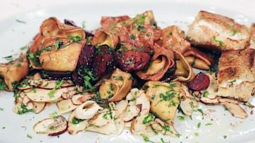 Smoked Fish Tortelloni with Porcini Barolo Sauce