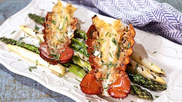 Lobster Tails with Pastis Creme & Asparagus Spears