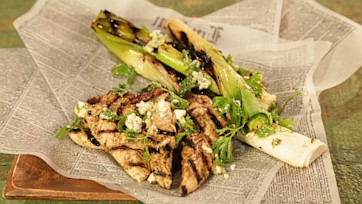 "Grilled Chicken Tenders ""Buffalo Style"" with Grilled Leeks and Blue Cheese"