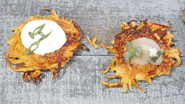 Sweet Potato Latkes Recipe by Mario Batali: Part 1