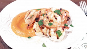 Grilled Shrimp with Red Pepper Sauce and Parsley Salad Recipe by Michael Symon