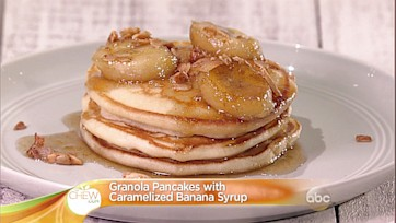 Granola Pancakes with Caramelized Banana Syrup Recipe: Part 1