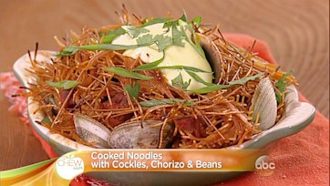 Crispy Noodles with Cockles, Chorizo and Beans Recipe: Part 1