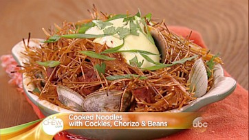 Crispy Noodles with Cockles, Chorizo and Beans Recipe: Part 2