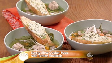 Spring Slow Cooker Soup with Turkey Meatballs Recipe